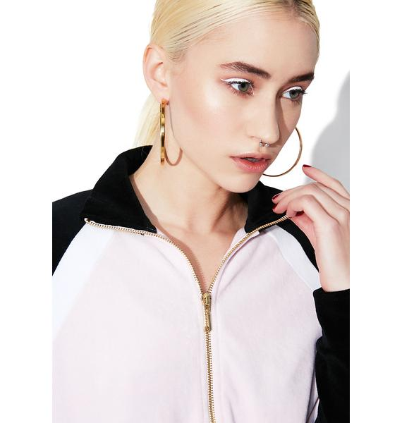 JUICY COUTURE Velour Color Blocked Zip Up