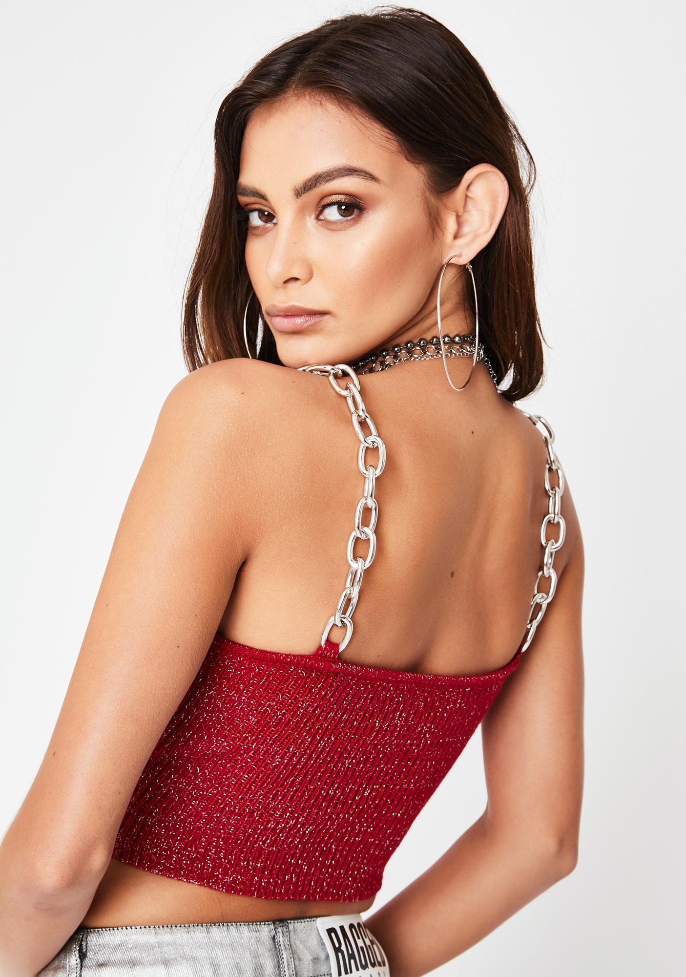 The Ragged Priest Red Glitter Chain Strap Ribbed Cami Top