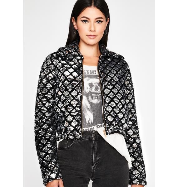 Disco Urban Glam Sequin Puffer Jacket