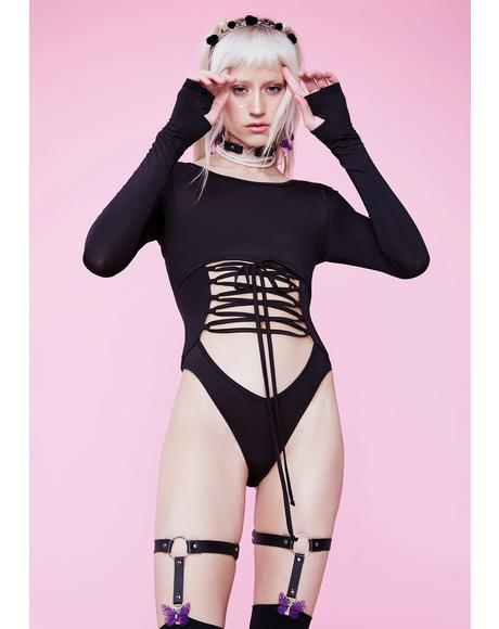 Luna On The Horizon Long Sleeve Lace Up Bodysuit