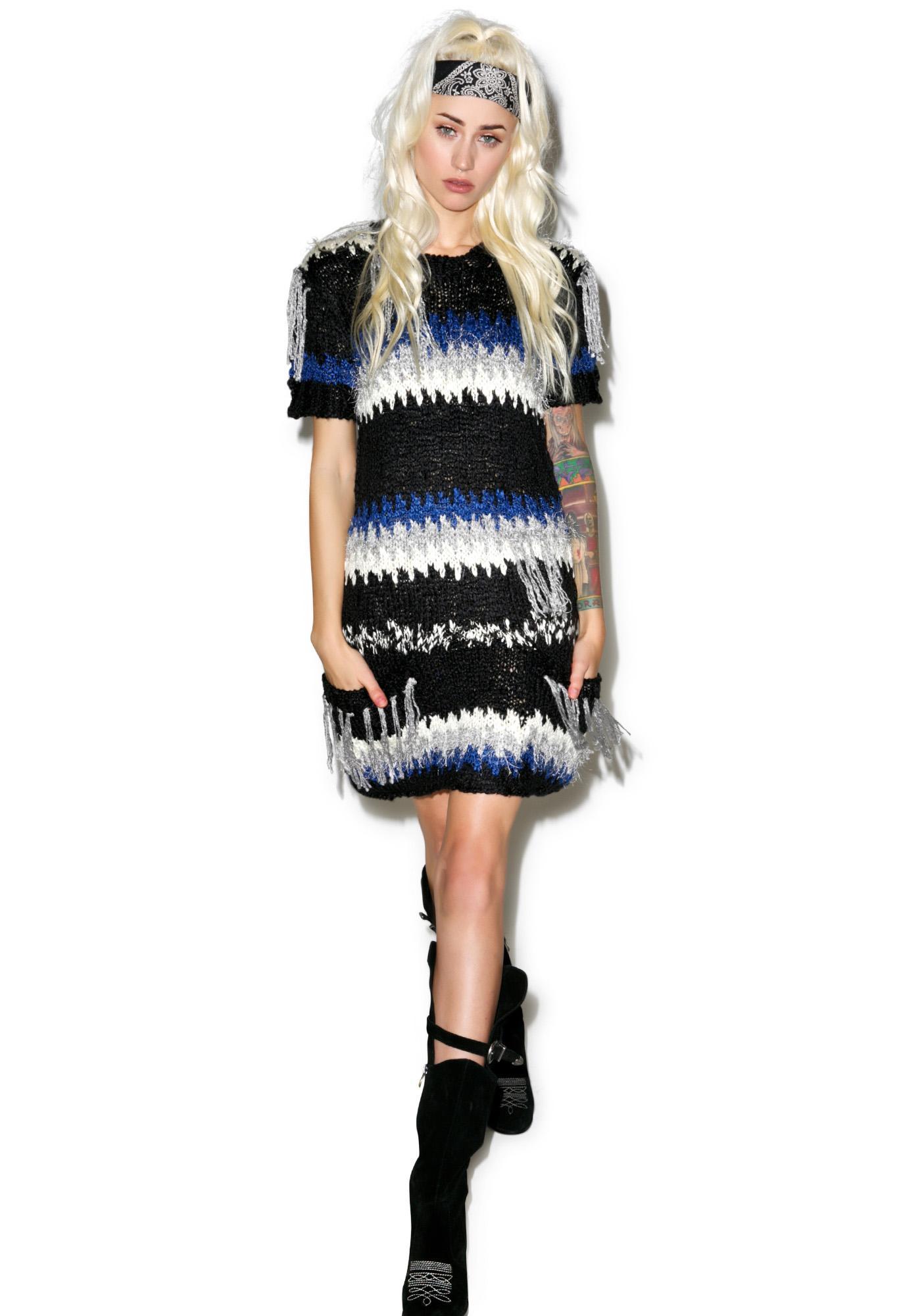 For Love & Lemons Black 'N Blue Crosby Fringe Dress