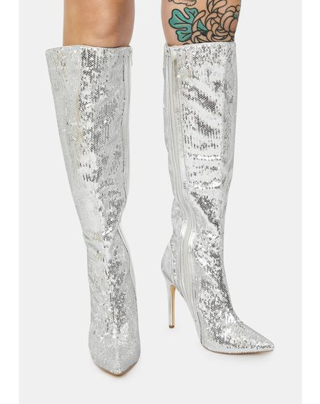 Chrome Red Carpet Walk Sequin Knee High Boots