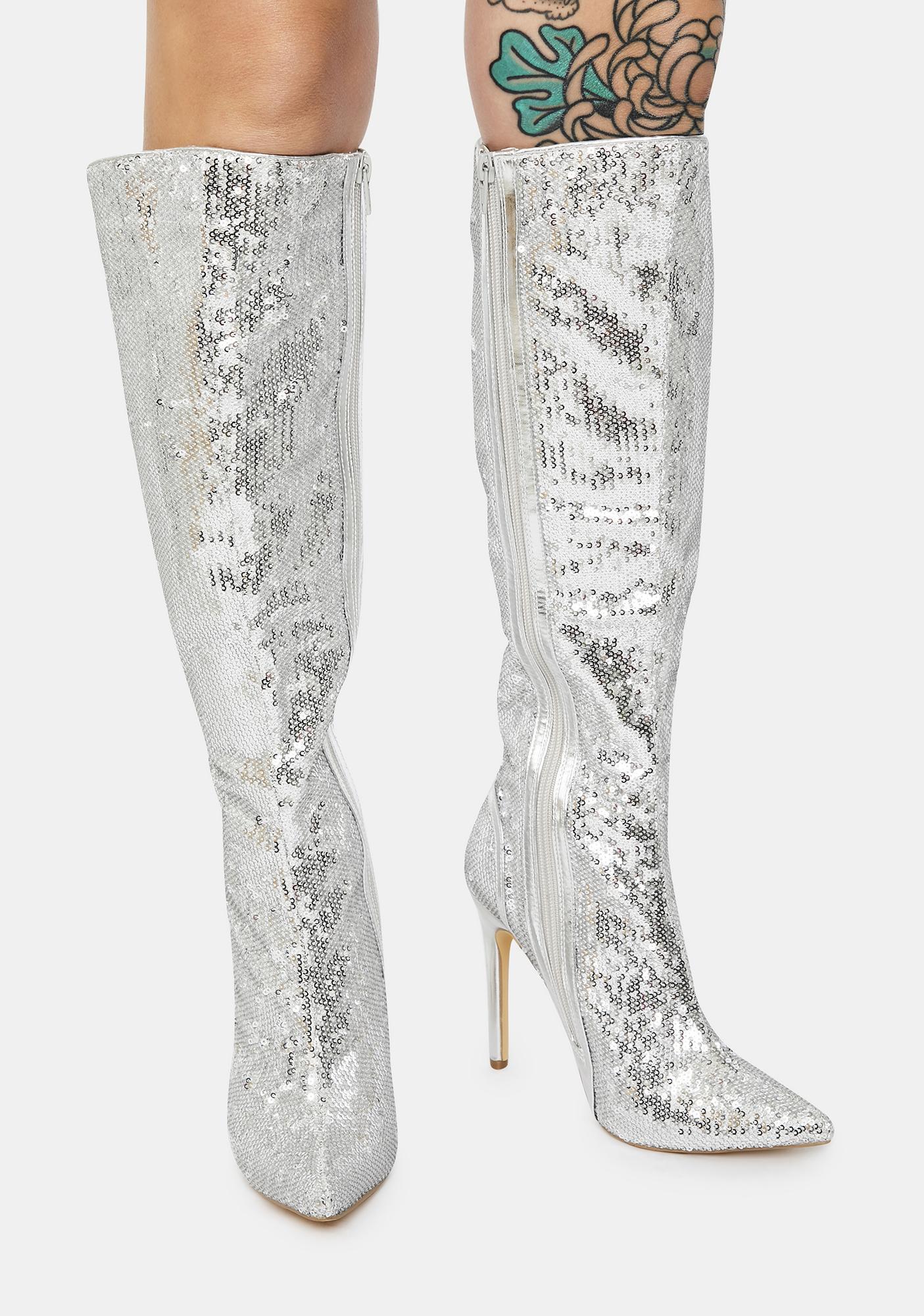 Chrome Red Carpet Walk Sequin Knee High Boots