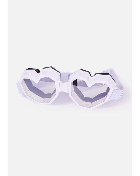 White Monochrome Heart Goggles
