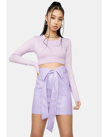 Lilac With Or Without You Cutout Crop Top