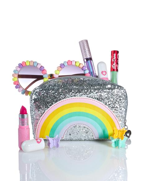 Rainbow Glitter Cosmetic Bag