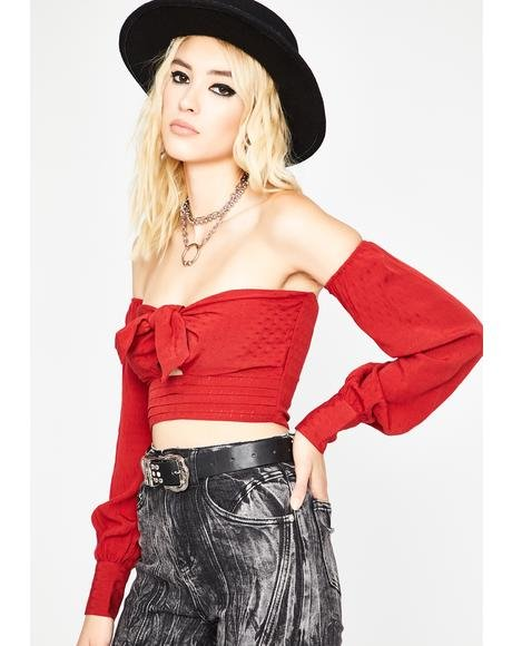 Scarlet She's The Captain Crop Top