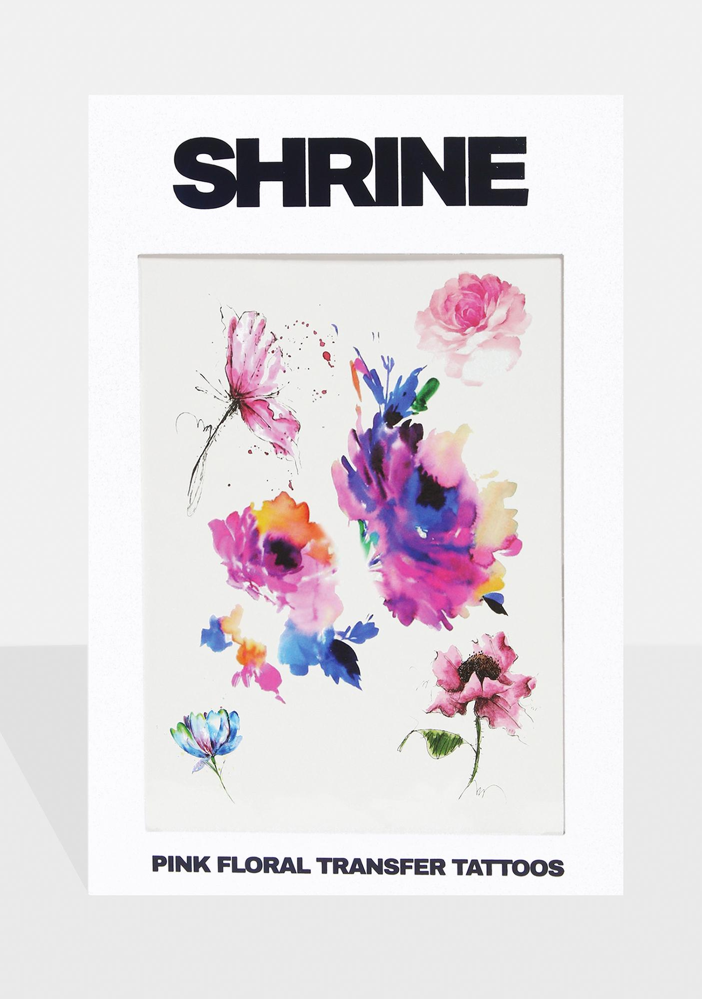 SHRINE Pink Floral Transfer Tattoos