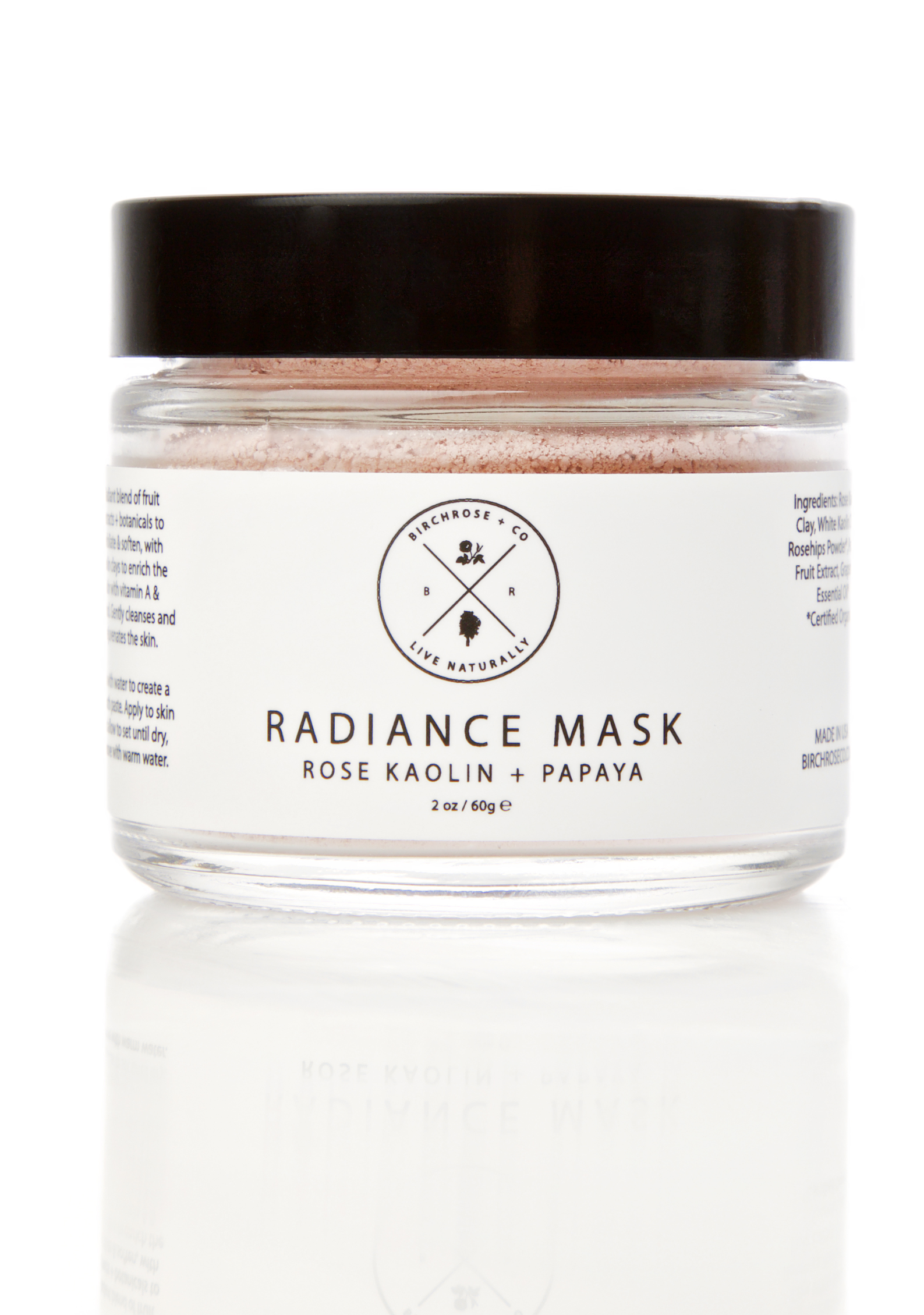 Birchrose + Co Rose Kaolin + Papaya Radiance Mask