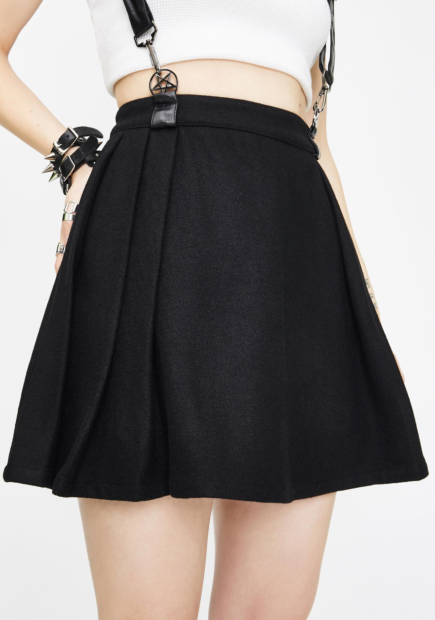 Punk Rave Woolen Lattice Pleated Half Skirt