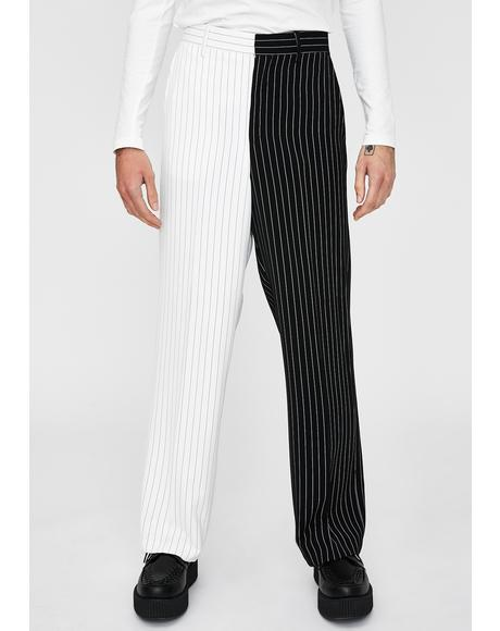 Spliced Black & White Suit Trousers