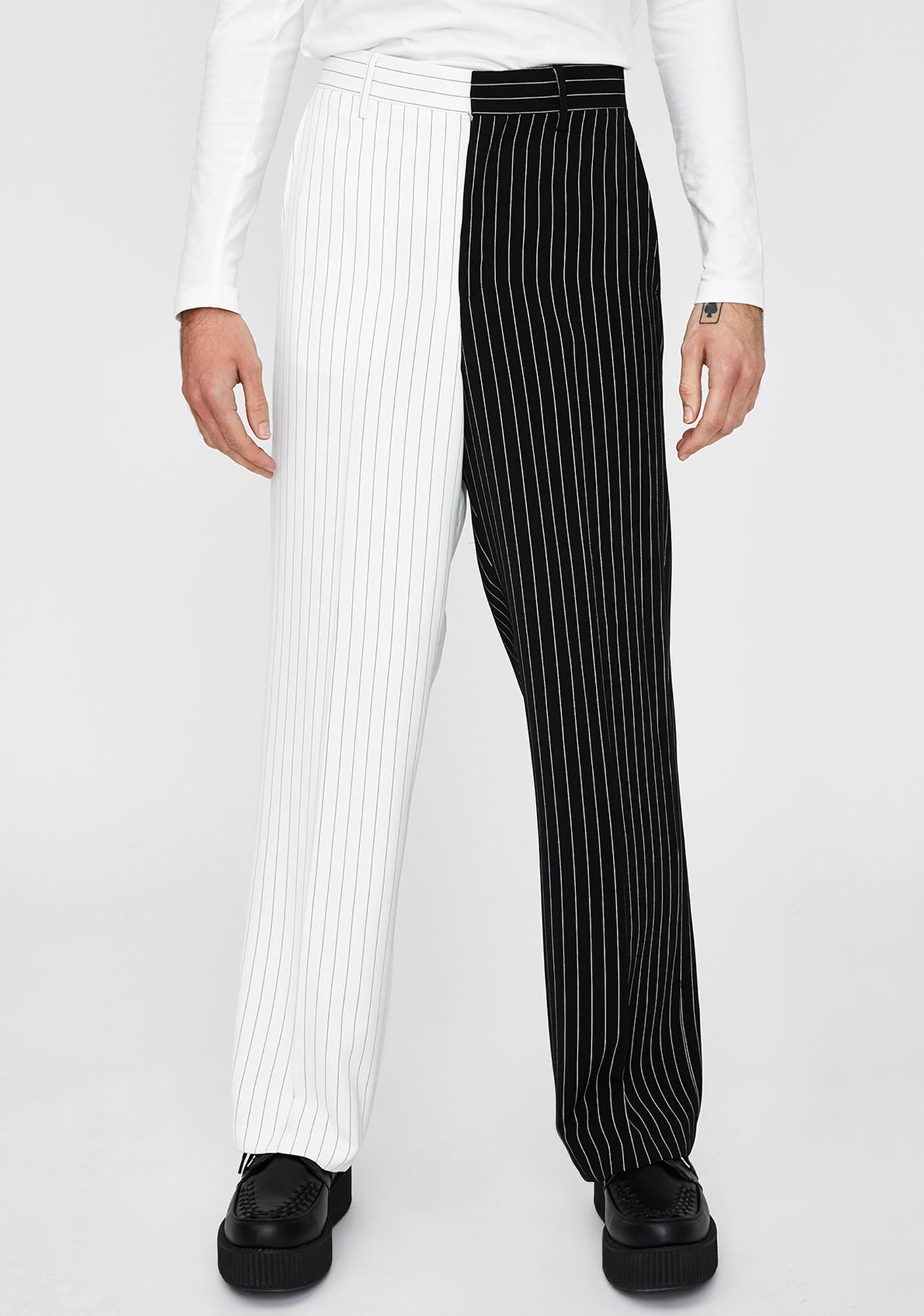 Jaded London Spliced Black & White Suit Trousers