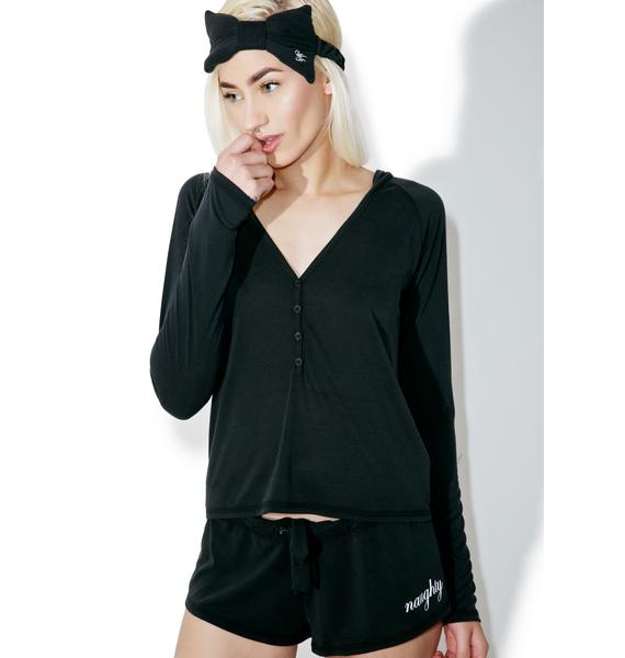 Wildfox Couture Naughty Hooded Henley Short Set