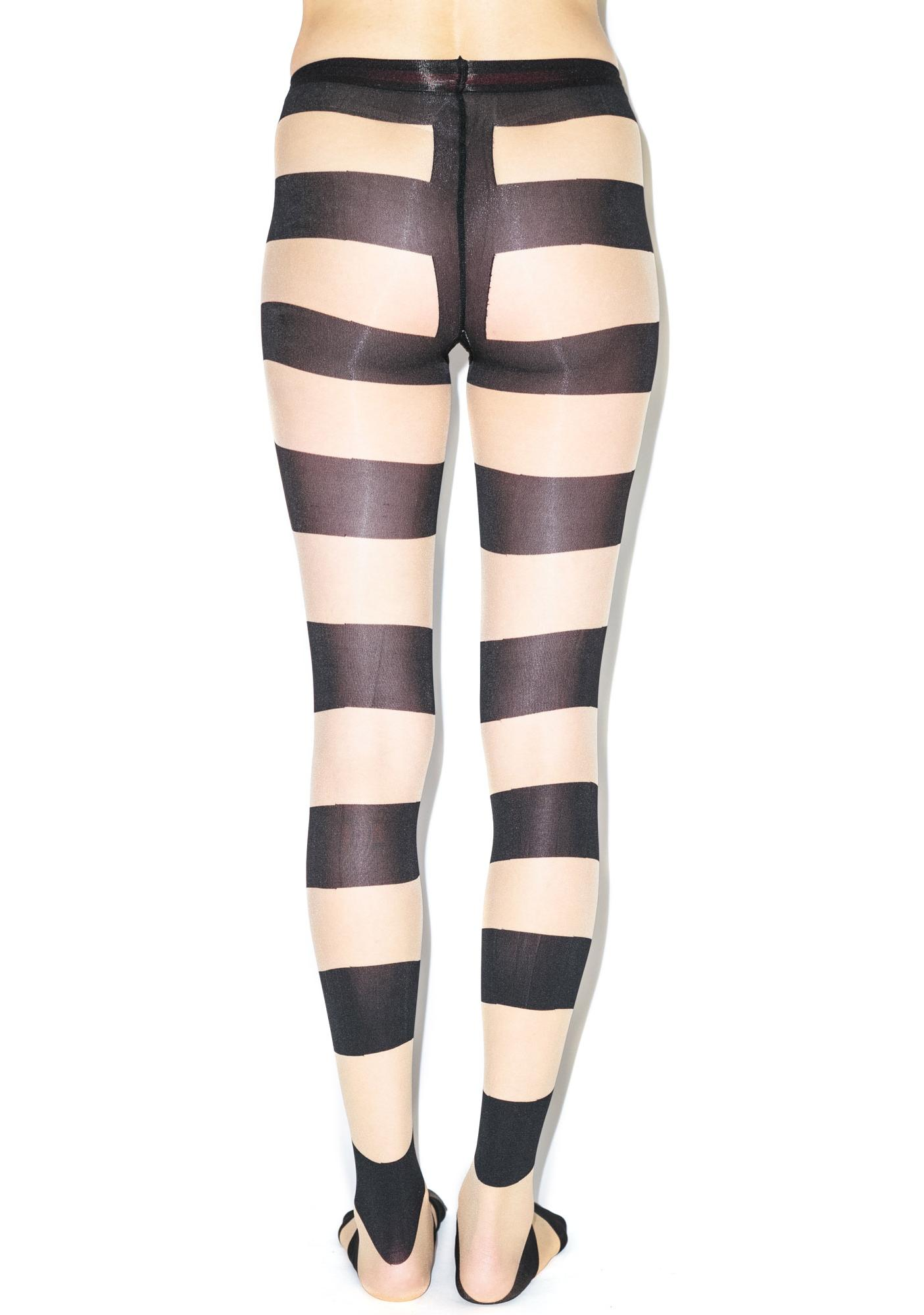 Pretty Polly Pretty Polly x Alice & Olivia Horizontal Stripe Tights