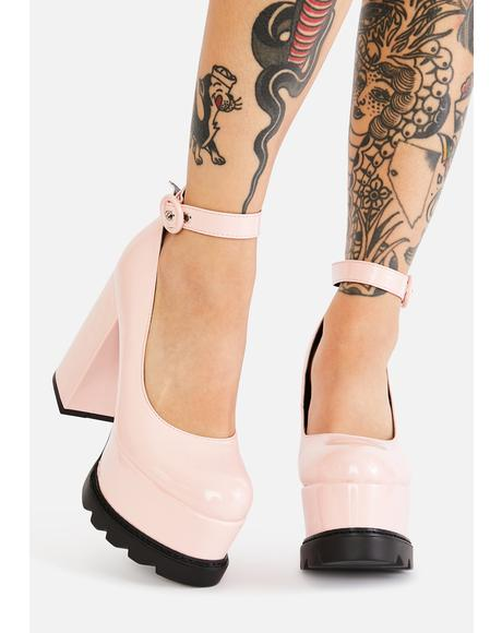 Pink Evil Attraction Platform Mary Janes