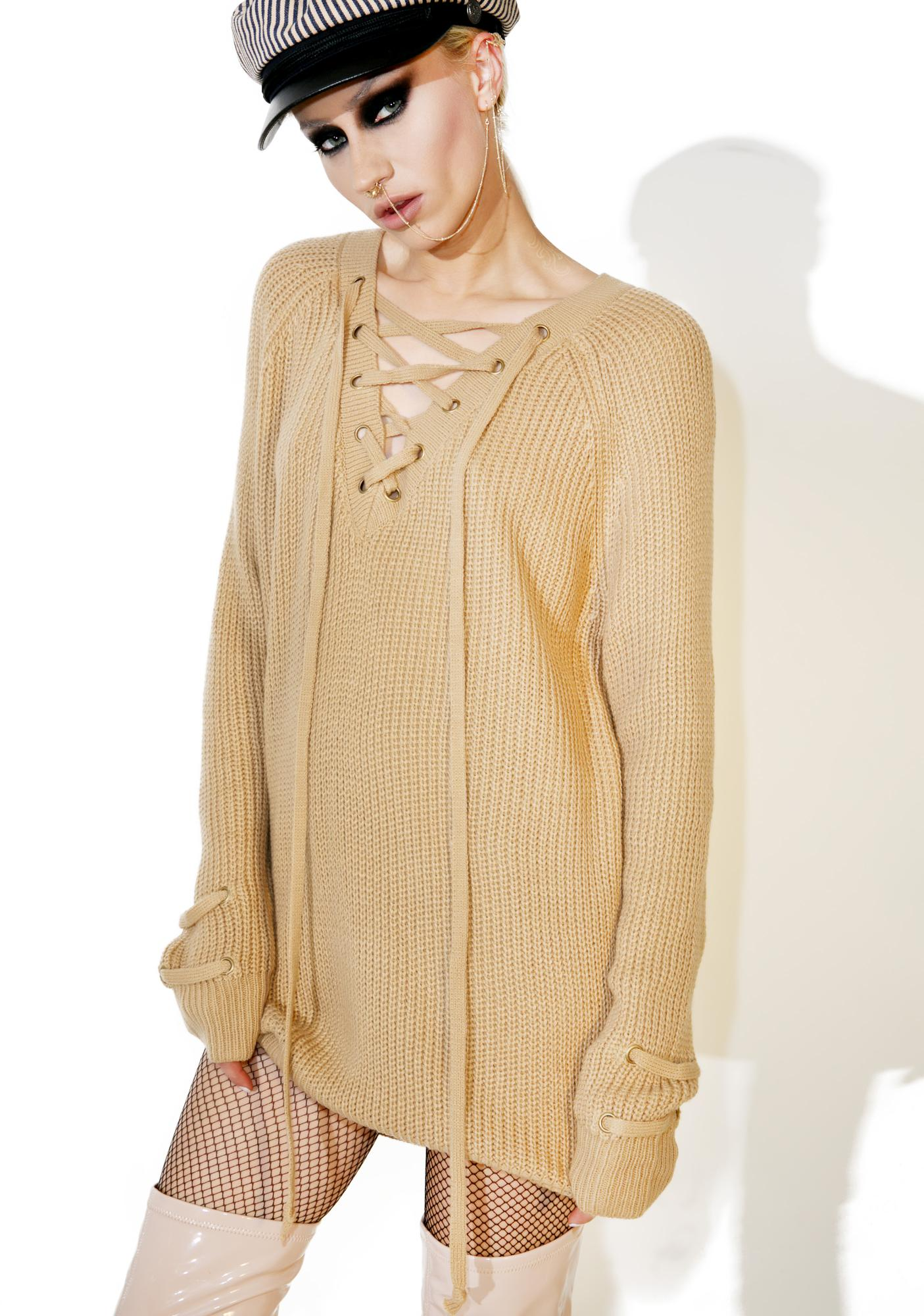 Mocha Myth Lace-Up Sweater