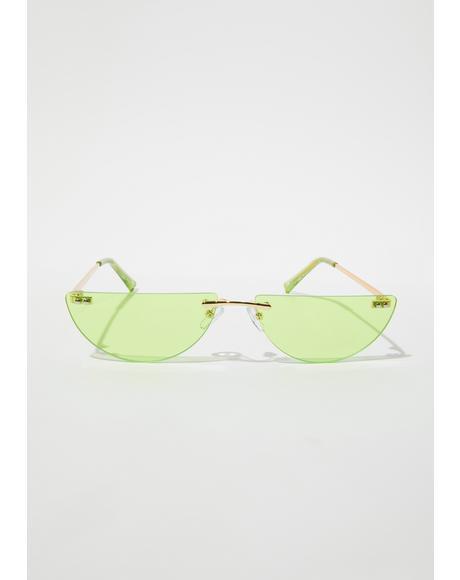 Jade Chic Thrills Half Oval Frameless Sunglasses