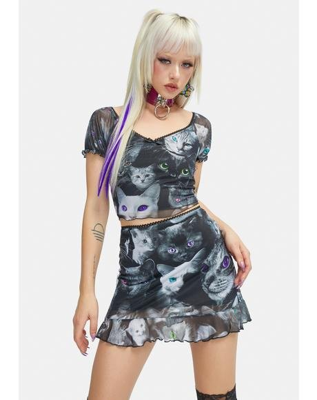 Moonlight Meow Mesh Skirt