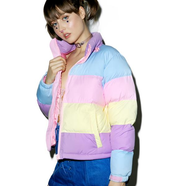 Lazy Oaf Pastel Panel Puffer Jacket