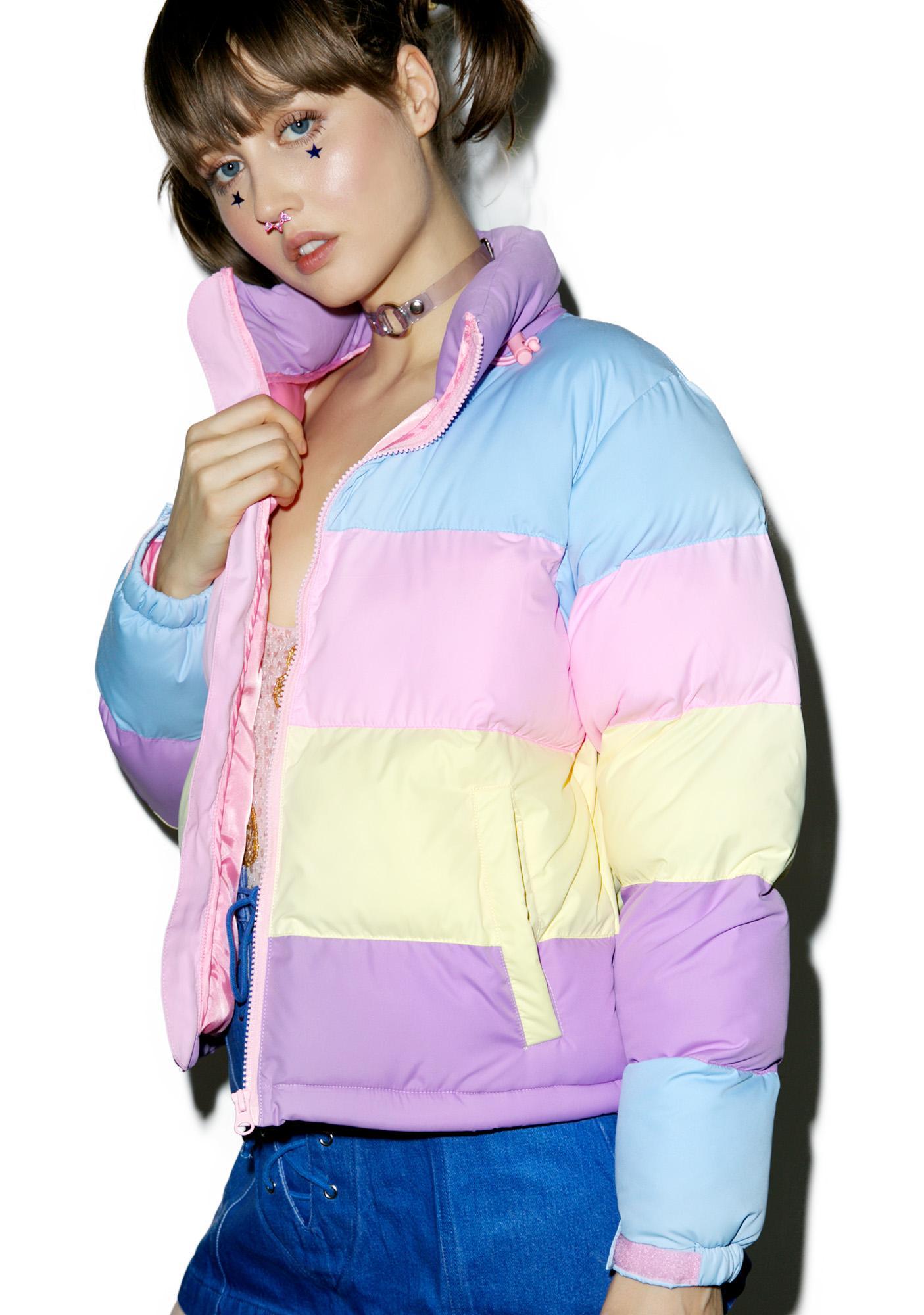 Lazy Oaf Pastel Panel Puffer Jacket