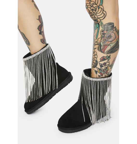 AZALEA WANG Rhinestone Royalty Ankle Boots