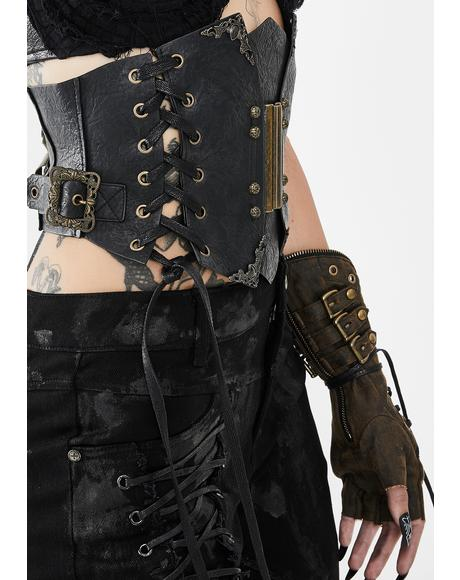 Gold Waist Tie Up Corset Belt