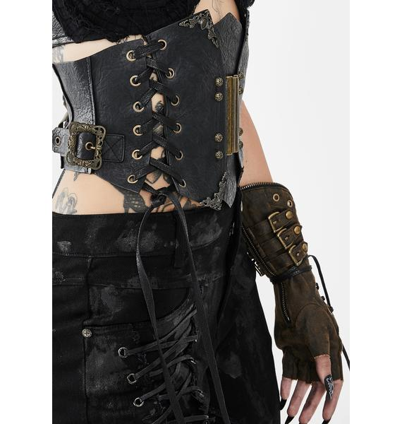 Devil Fashion Gold Waist Tie Up Corset Belt