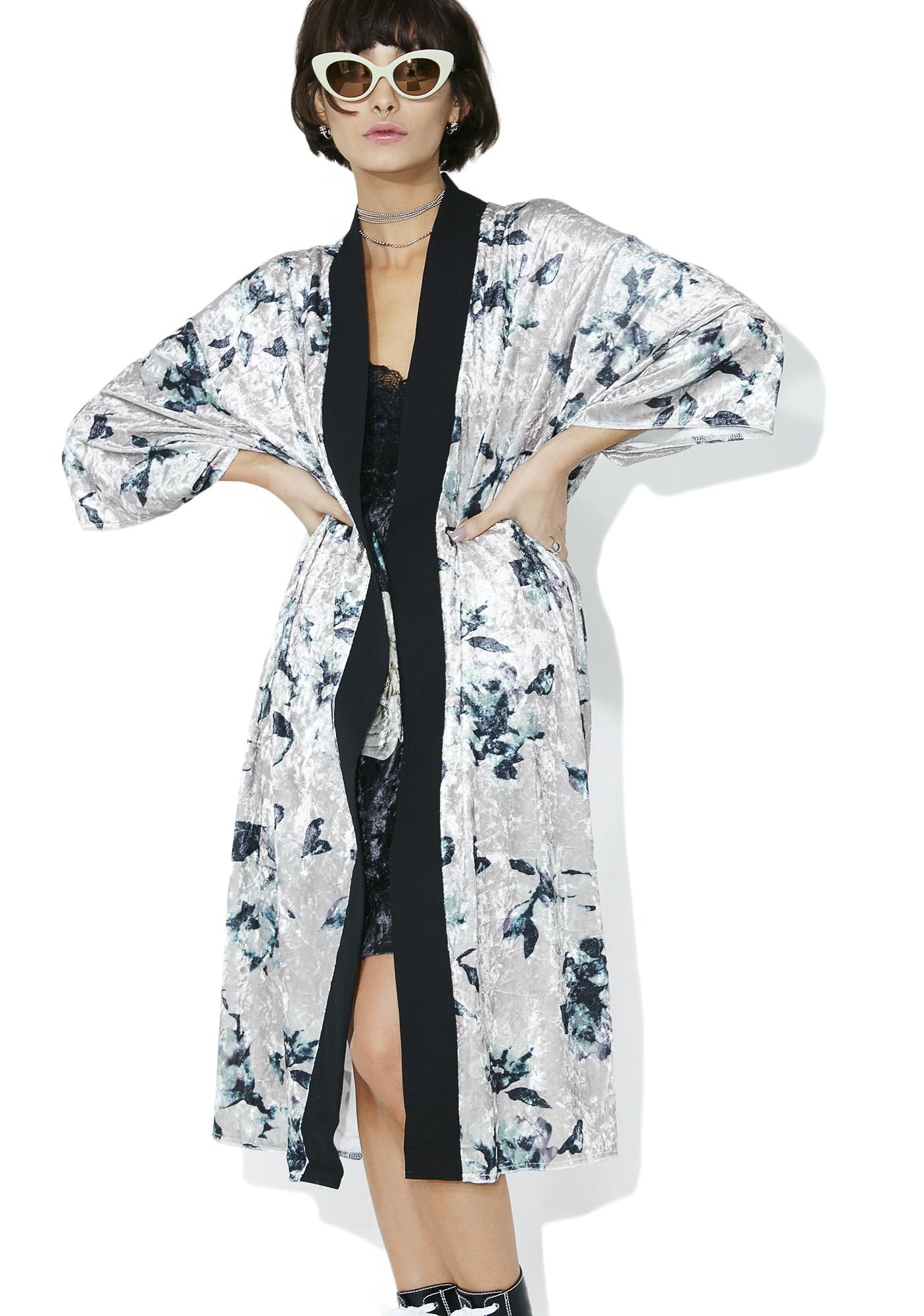 Floral Velvet Open Kimono