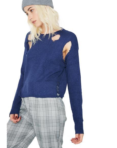 Beat It Distressed Sweater