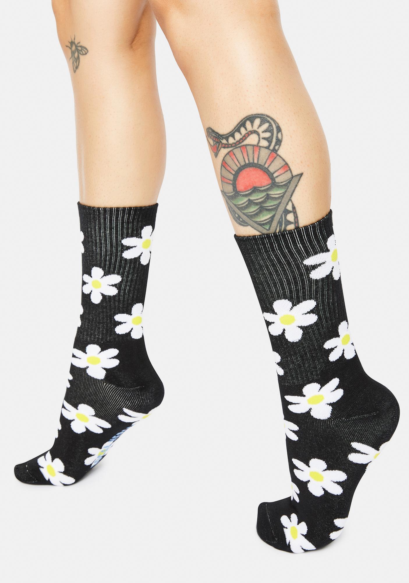 Local Heroes Black Daisy Print Crew Socks