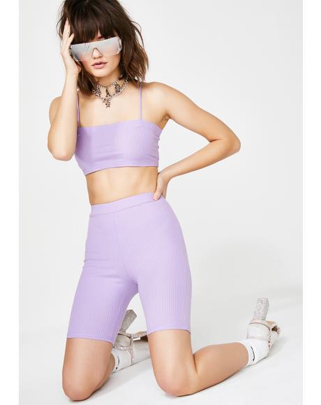 Lilac Slay Time Shorts Set