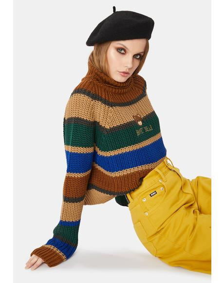 Honey Bear Knitted Striped Jumper