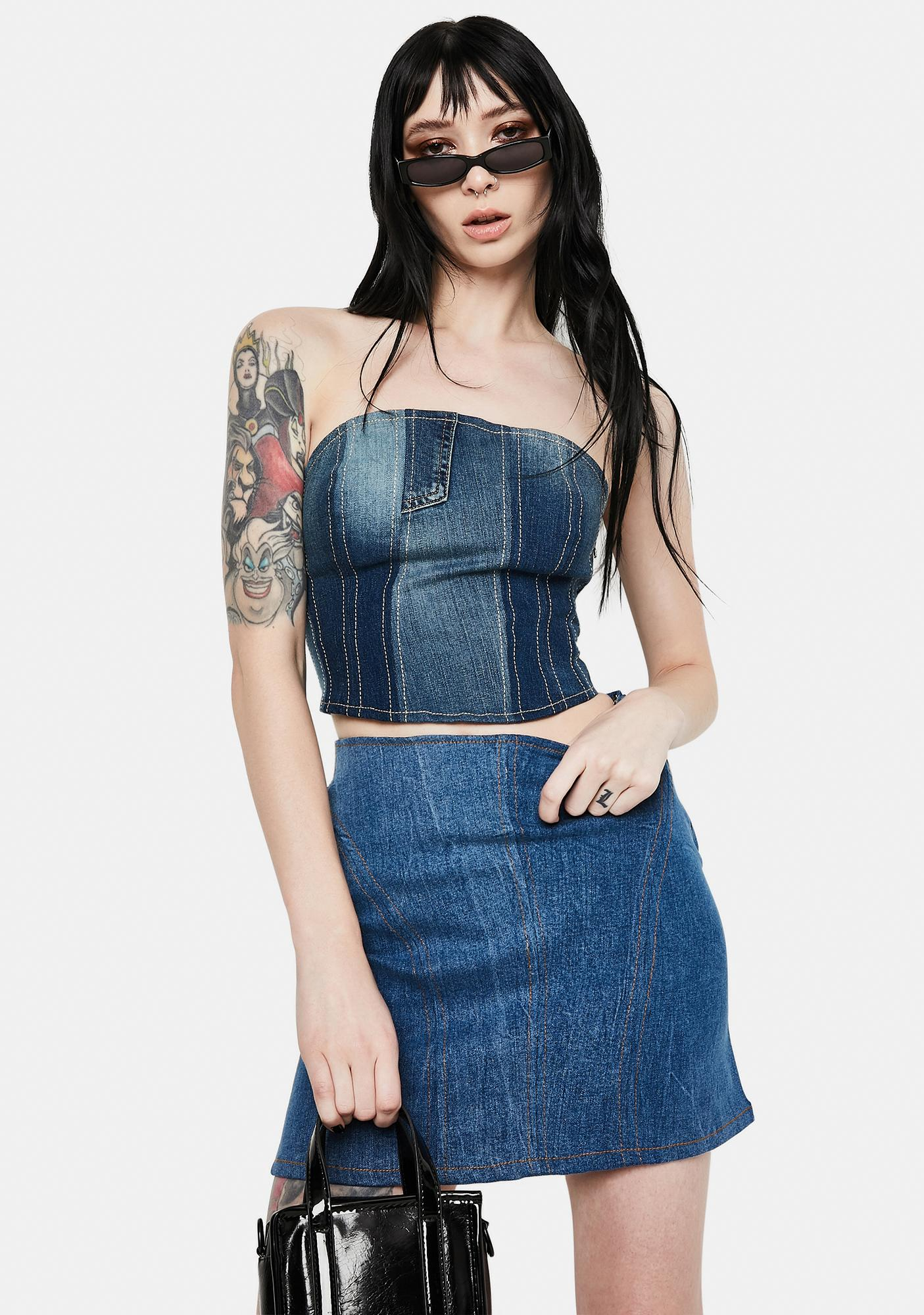 Kiki Riki Wishful Thinking Denim Mini Skirt