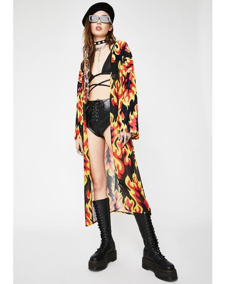 Flame Velvet Chiffon Kimono