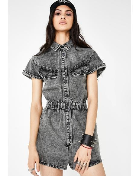 Up 2 No Good Denim Romper