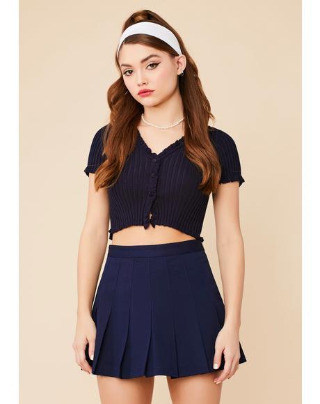Navy Not So Clueless Pleated Mini Skirt