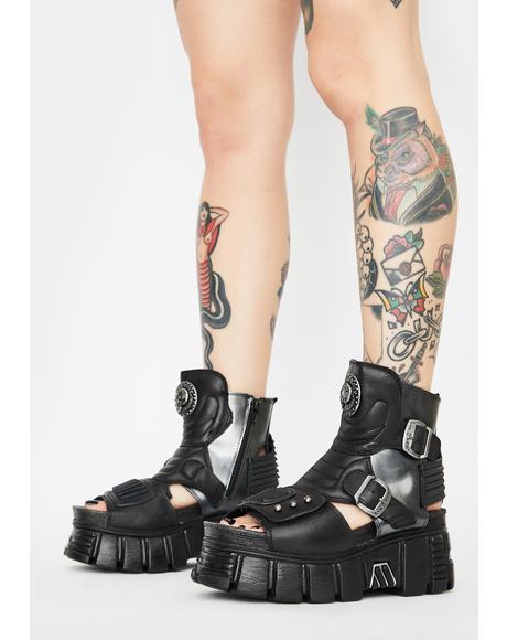 Cut Out Platform Boots