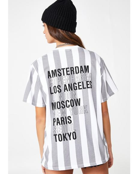 OBEY International Cities Striped T-Shirt
