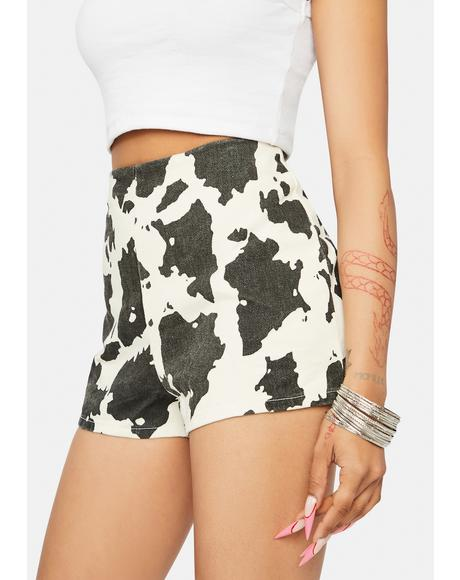 Way Out West Cow Denim Shorts
