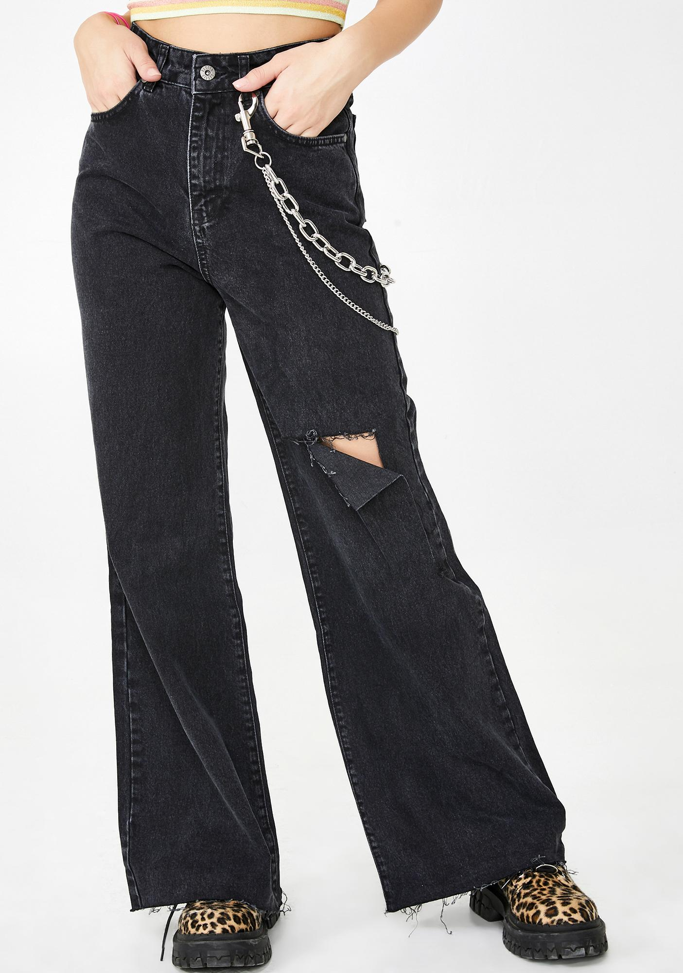 The Ragged Priest Trip Flared Jeans with Knee Rip