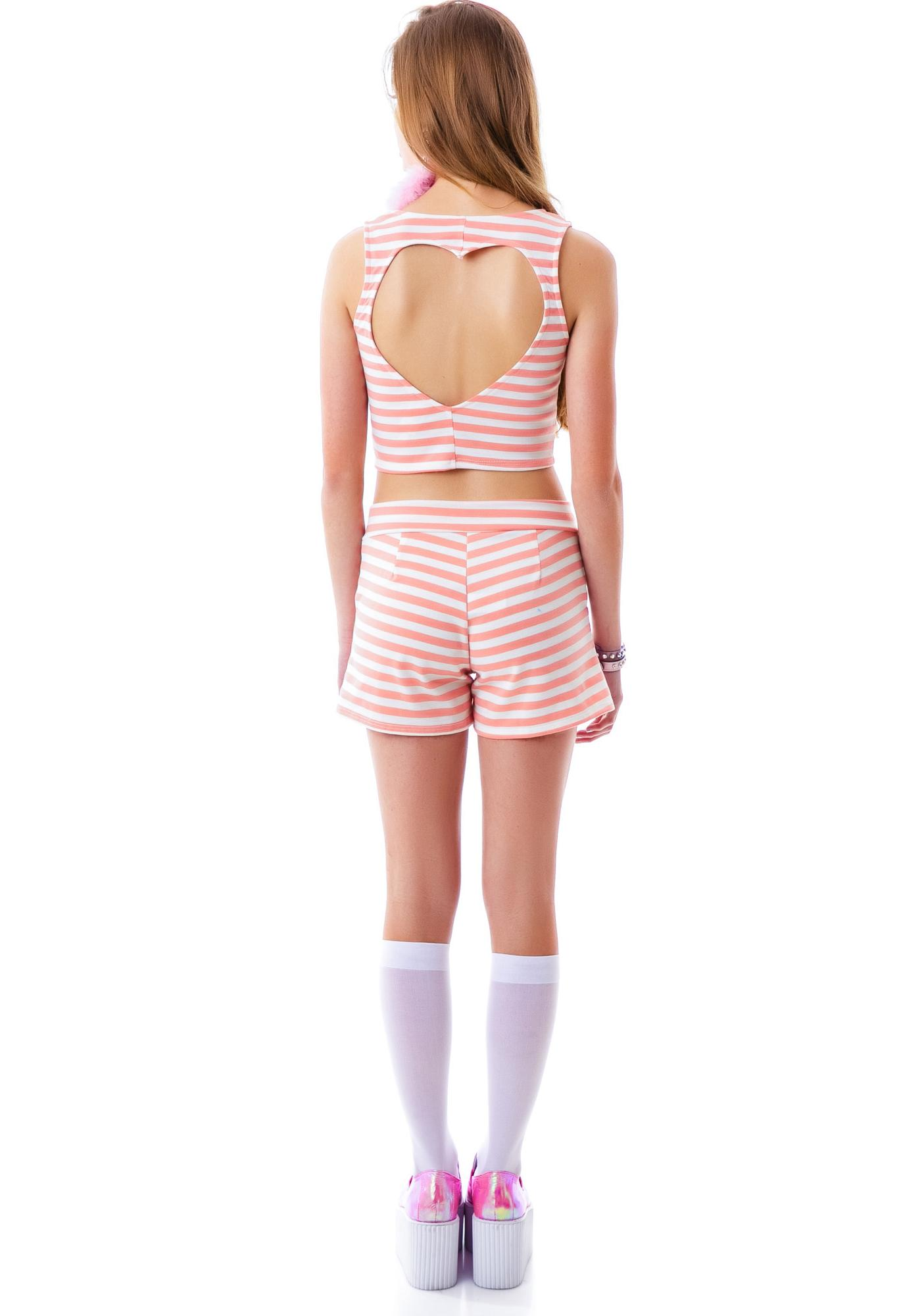 Flat Line Heart Cut Out Crop Top