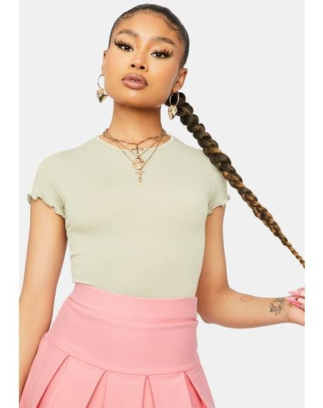 Sage Notice Me Crew Neck Crop Top