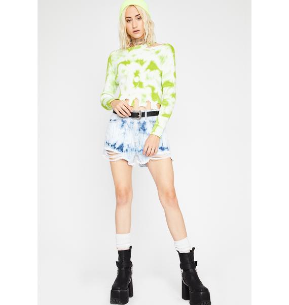 Lime Warped Whirlpool Tie Dye Sweater