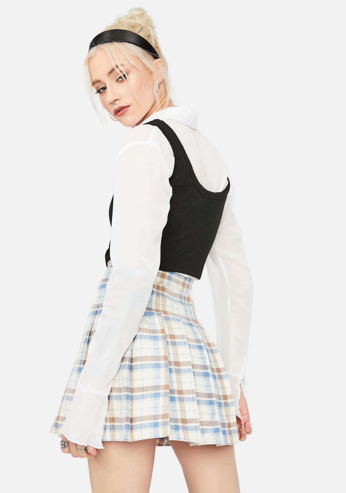 Latte Step Into A Dream Plaid Skirt