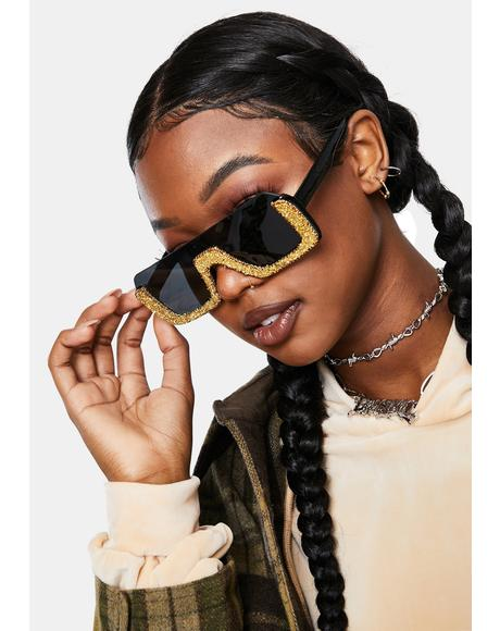 Gold Pop Fizz Rhinestone Shield Sunglasses