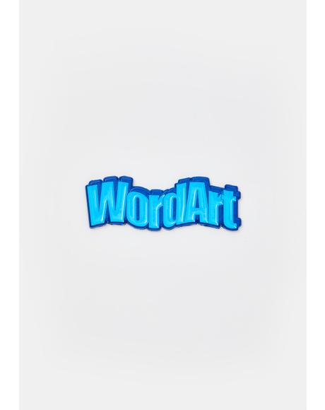 Wavy Blue WordArt Enamel Pin