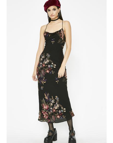 Flowering Orchid Midi Dress
