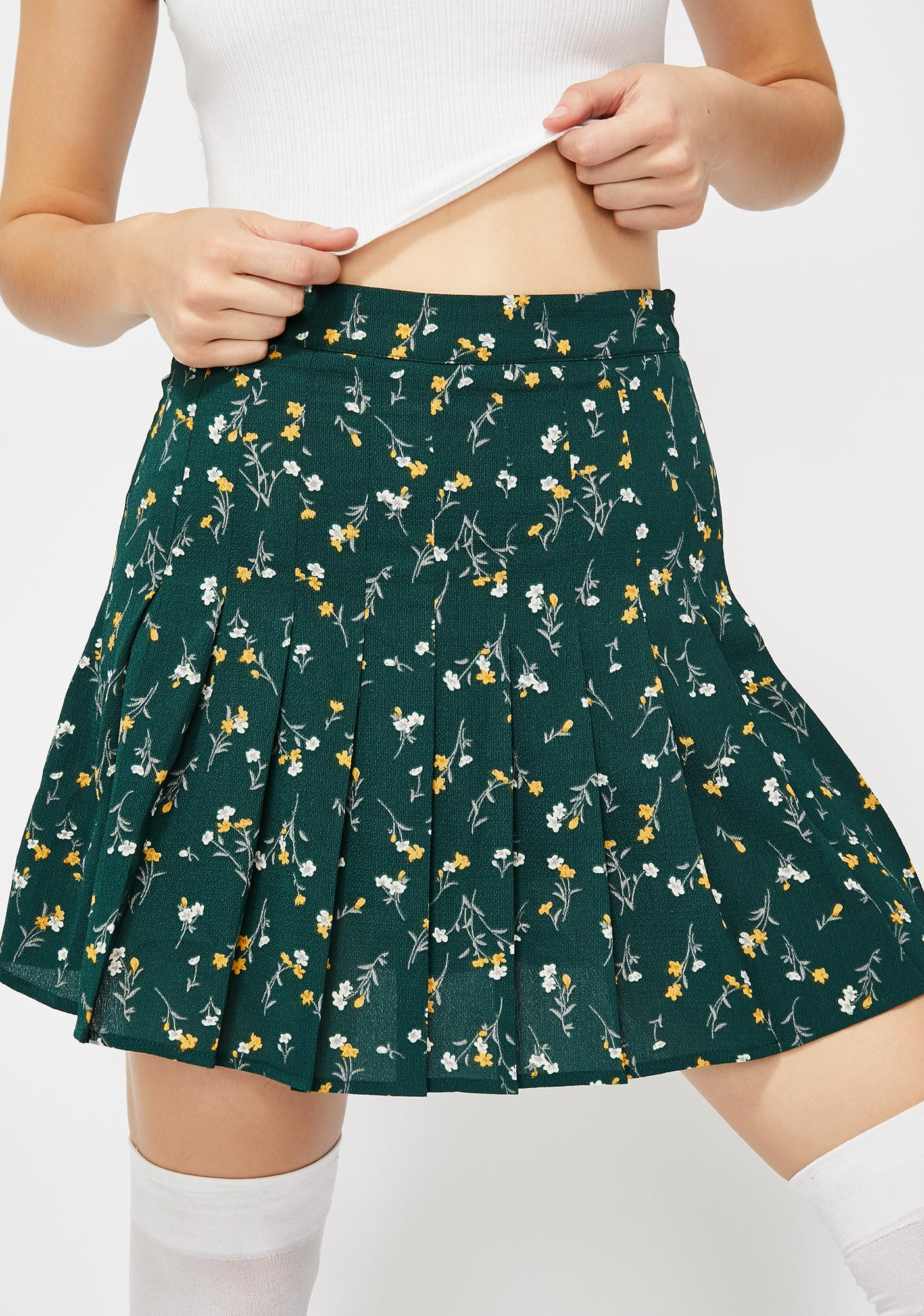7f26877fc8 Green Pleated Floral Mini Skirt | Dolls Kill
