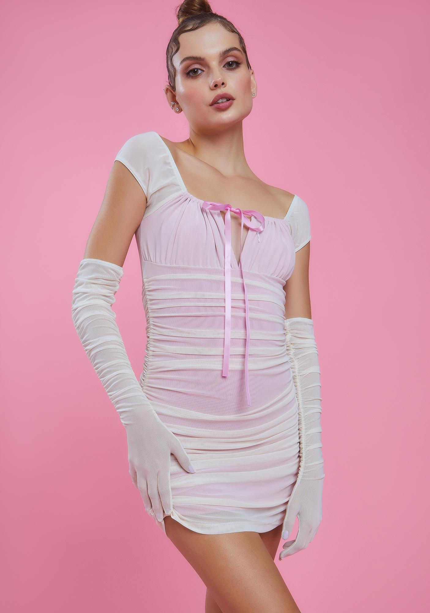 Sugar Thrillz Girl In The Mirror Ruched Dress And Gloves Set