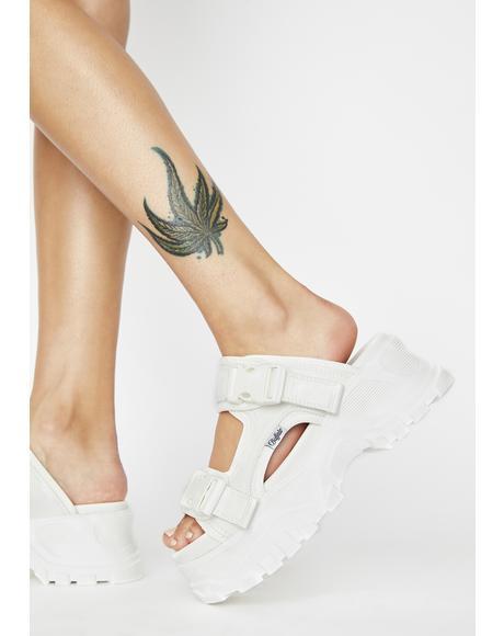 White GLDR OS 2 Platform Sandals